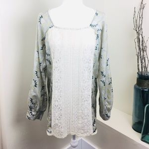 Johnny Was Floral Lace Eyelet Boho Floral Tunic